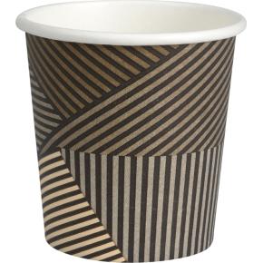 Kaffebæger 10 cl, pap, brun med striber