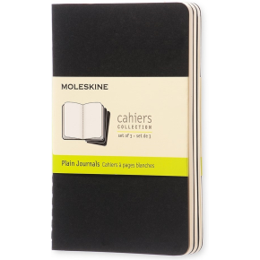 Moleskine Cah. Notesbog Pocket, blank, sort, 3 stk