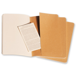 Moleskine Cah. Notesbog Large, linj., kraft, 3 stk