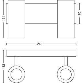 Philips HUE Buratto 2 x GU10 spot, alu + kontakt