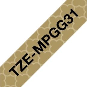 Brother TZe-MPGG31 labeltape 12mm, sort på guld