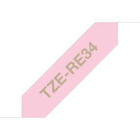 Brother TZe-RE34 guld tekst på pink silkebånd