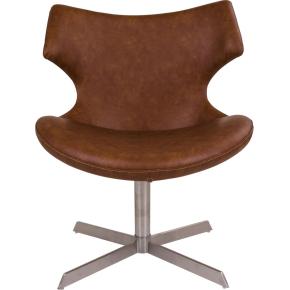 Zampi Loungestol, brun m. børstet stål