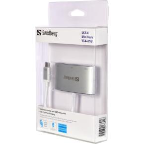 Sandberg USB-C til VGA+USB, hvid