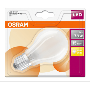 Osram LED Retro Standardpære mat E27, 8W=75W