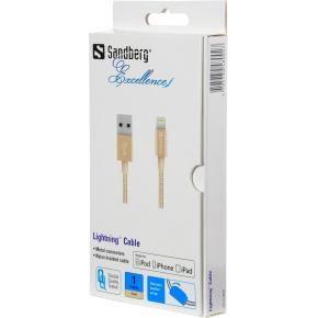 Sandberg Lightning Excellence kabel, guld (1 m)