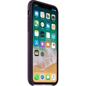 Apple iPhone X Leather Case, aubergine