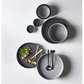 Bitz Multiskål grå stentøj & sort salatbestik