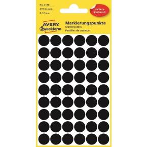 Avery 3143 Manuelle etiketter, 12mm, sort