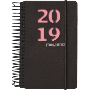 Mayland Minispiralkalender, dag, sort m/2 frv bld