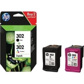 HP No302 blækpatroner K+CMY combo 2-pack