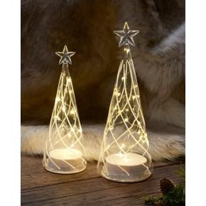 Vein træ, Lille, glas, 10 LED lys, H 22 cm
