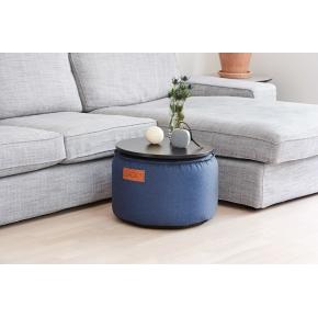 DRUMit puf med antracit bakke, Blå, D 50xH 35 cm