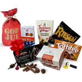 Den røde julesæk m. slik og chokolade, 1030 g