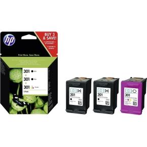 HP No301 blækpatron 2x sort + farve, sampak