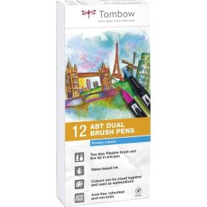 Tombow ABT Dual Pensel/Tousch, basisfarver, 12 stk