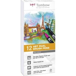 Tombow ABT Dual Pensel/Tousch, grå farver, 12 stk.