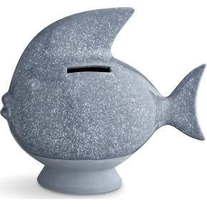 Kähler Sparedyr Fisk, gråblå, 14,5 cm