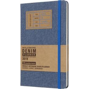 Moleskine Ugekalender 2019 Hard Large, denim blå