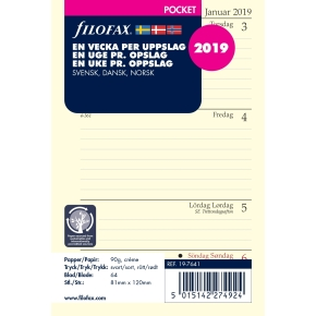 Filofax Refill Pocket Uge/Opslag, 2019