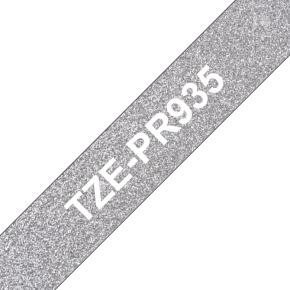 Brother TZe-PR935 labeltape 12mm, hvid på sølv