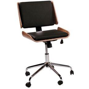 Retro kontorstol valnød finer sort sæde