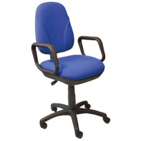 Deluxe kontorstol med armlæn, blå