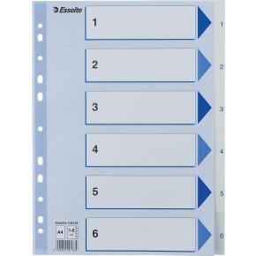 Esselte register A4, 1-6, plast, hvid