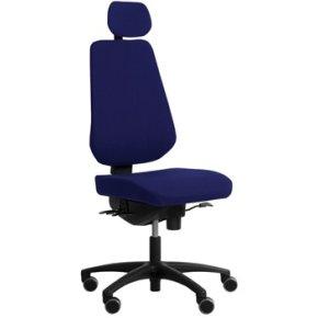 RBM 839 kontorstol sort stel, Oxford blå