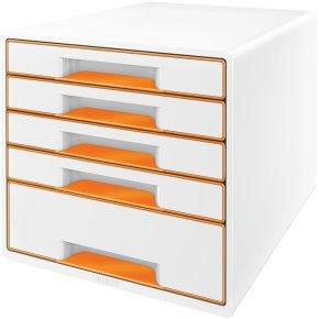 Leitz WOW CUBE skuffekabinet, 5 skuffer, orange