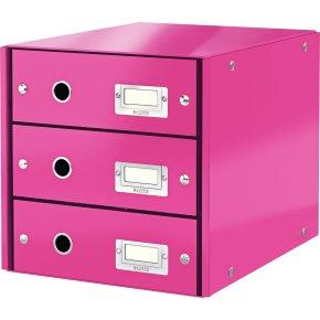 Leitz Click & Store skuffekabinet 3 rum, pink