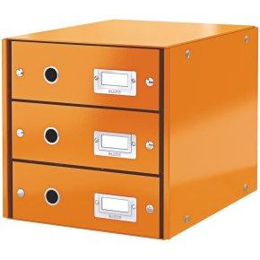 Leitz Click & Store skuffekabinet 3 rum, orange