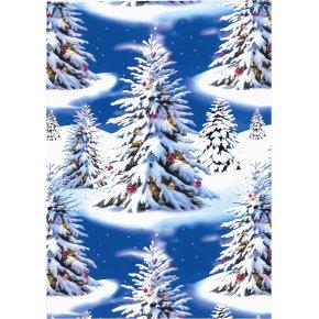 Gavepapir Blue trees, 70 cm x 20 m