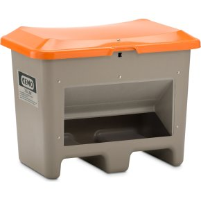 Salt-/sandbeholder 200 L,bund-/gaffelåb,Grå/orange