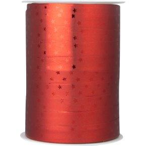 Gavebånd Metallic med stjerner Rød 10 mm, 100 m