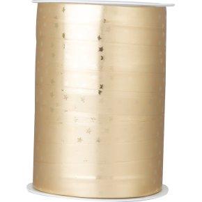 Gavebånd Metallic med stjerner Guld 10 mm, 100 m