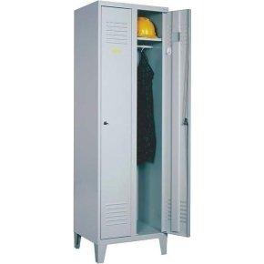 Proff garderobeskab, 2x1 rum,Ben,Cylinderlås,Grå