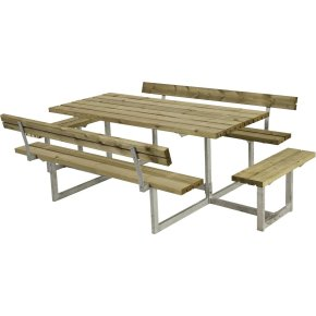 Plus Basic bord-bænkesæt m. ryglæn/påbyg, Natur