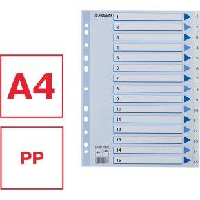 Esselte register A4, 1-15, plast, hvid