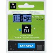 Dymo D1 labeltape 12mm, sort på blå