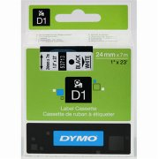 Dymo D1 labeltape 24mm, sort på hvid