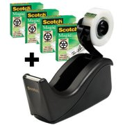 Scotch Magic 4 ruller tape + 1stk dispenser sort