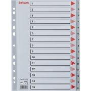 Esselte register A4, 1-15, plast, grå