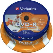Verbatim DVD-R 4,7GB printable, spindel, 25 stk