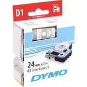 Dymo D1 labeltape 24mm, sort på gul
