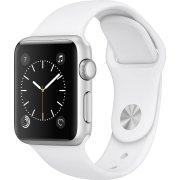 Apple Watch Series 1, 38mm, sølv, hvid sportsrem