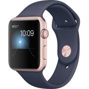Apple Watch Series 1, 42mm, rosaguld, natblå rem