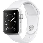 Apple Watch Series 2, 38mm, sølv, hvid sportsrem