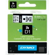 Dymo D1 labeltape 6mm, sort på hvid