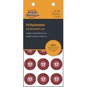 Avery Inspektionsdatoetiketter i rød, Ø20 mm